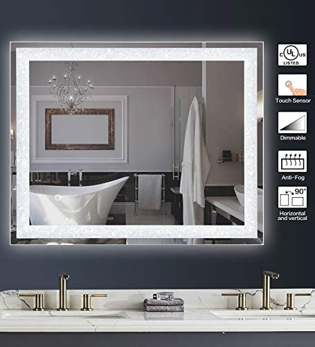 MAGGIIC Crystal Inlay UL Listed 28 x 36 Inch Horizontal Vertical Dimmable LED Bathroom Makeup Vanity Mirror Wall Mounted Mirror Anti-Fog IP44 Waterproof CRI 90