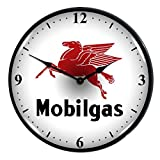 Collectable Sign and Clock 710077 14″ Mobilgas Lighted Clock For Sale