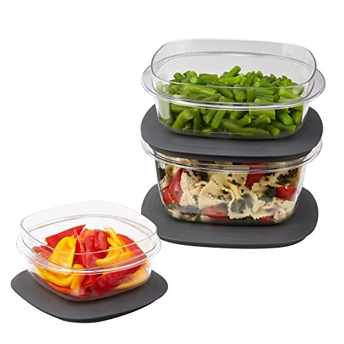 Rubbermaid Premier Easy Find Lids Food Storage Containers, Gray, 6-Piece Set 1951297