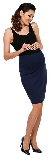 Zeta Ville - Premama midi falda de tubo banda barriga elástica - para mujer 066c