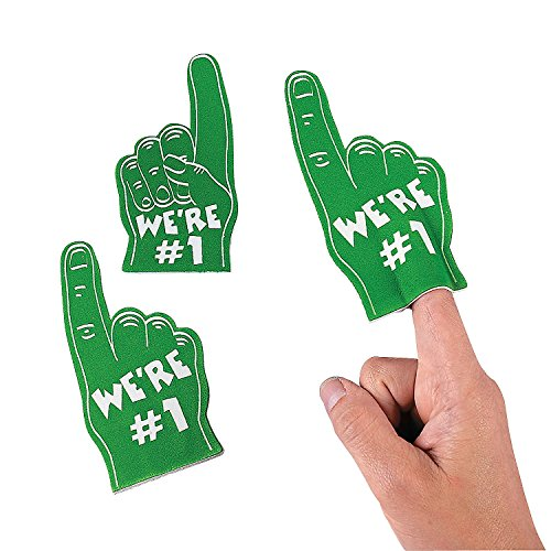 Fun Express - Green Mini Foam Fingers - Toys - Value Toys - Misc Value Toys - 12 Pieces -