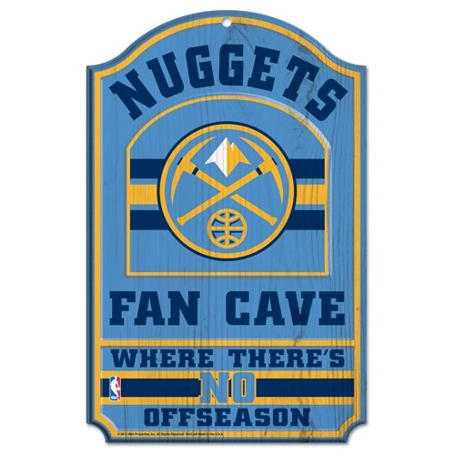 WinCraft NBA Denver Nuggets 38396012 Wood Sign, 11'' x 17'', Black by WinCraft