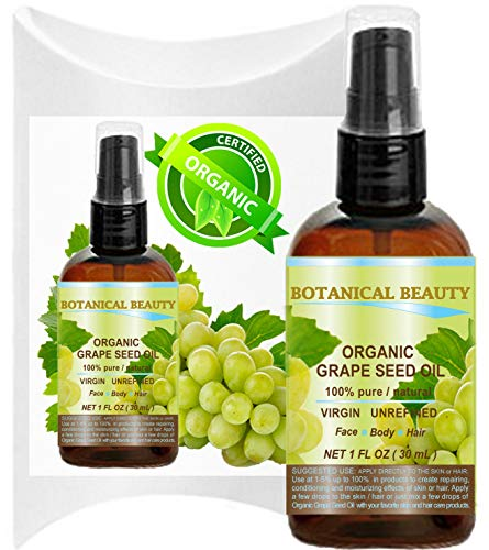 ORGANIC GRAPE SEED Oil. 100% Pure / Natural / Undiluted /Certified Organic Cold Pressed Carrier Oil for Skin, Hair, Massage and Nail Care. (100 Organic Grape Seed Oil)