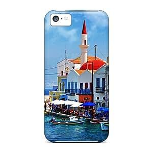 For Iphone 5c Premium Tpu Case Cover Beautiful Greece Corner Protective Case