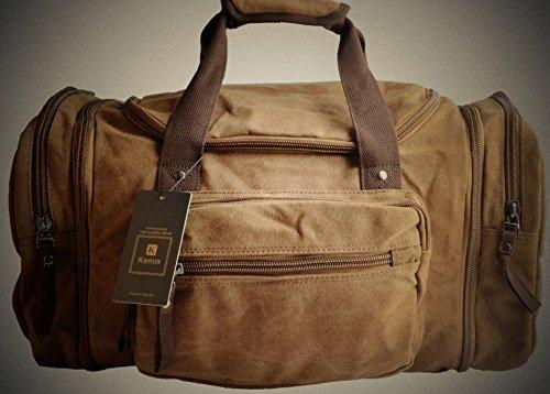 5b0538e3001b Kenox Oversized Canvas Travel Tote Luggage Weekend Duffel Bag (Khaki-2)
