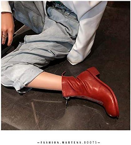 MSSugar Bottes pour Femmes Bottes à Talons Bas à Bout Rond Bottes mi-Mollet décontractées Zip Vintage à la Mode,Red,40