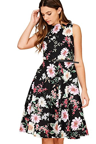 Annabelle Women's Sleeveless Belt Dresses with Pockets with Back Tie Black Small DC3166B