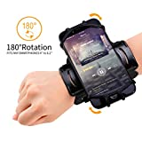 Sport Wristband iPhone X/8 Plus/8/7 Plus/7/6S Plus/6S, Samsung S8 Plus/S8/S7, Huawei P9 Plus, P9, Oppo R9 Plus, 180º Rotatable Running Workout Forearm Phone Holder(4 to 5.5 inch) - Black