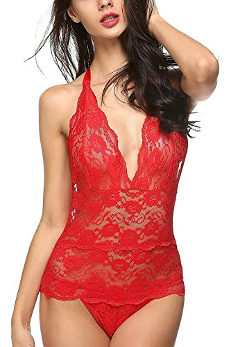 Henraly See-through Halter Backless Lace One Piece Babydoll Sleepwear Red XL