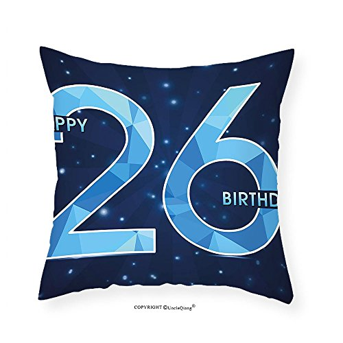 VROSELV Custom Cotton Linen Pillowcase 26th Birthday Decorations Digital Geometric Polygon Fractal Style Wishes Age Display for Bedroom Living Room Dorm Dark and Sky Blue 22