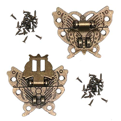Karcy 2Pcs Vintage Butterfly Latch Hasp with Screws Antique Embossing Decorative Bronze HasP Clasp for Cabinet Jewelry Trinket Box