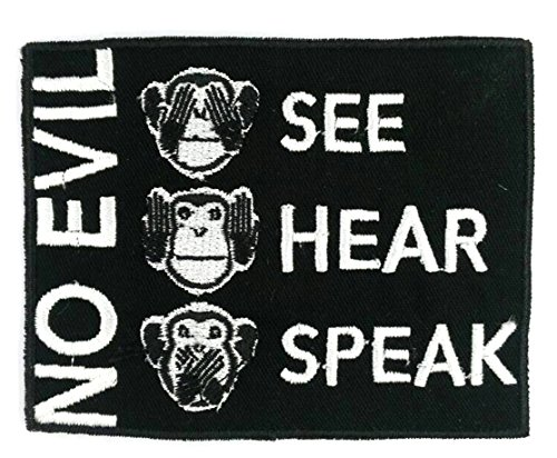 MONKEYHEAD-BK - Monkey See Hear Speak No Evil Iron-on Applique Embroidered Patch, Approx. Size 8.8 X 7 Cm., Black Color