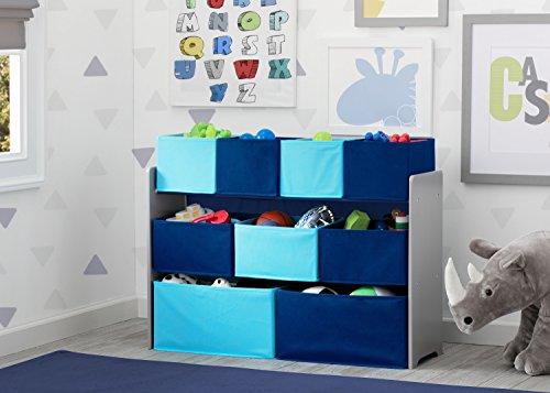 51BiHg0D00L - Delta Children Deluxe Multi-Bin Toy Organizer with Storage Bins, Grey/Blue