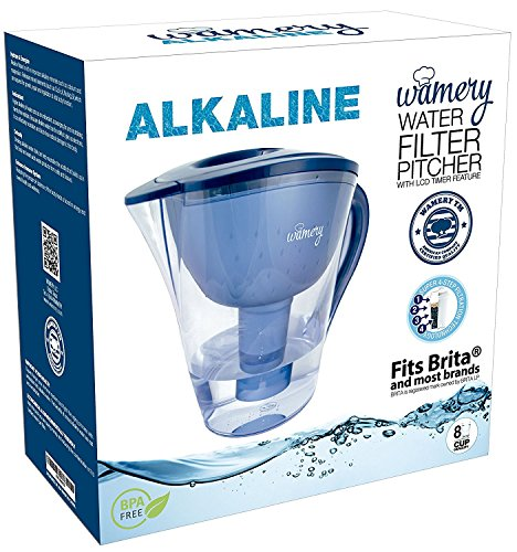Alkaline Water Pitcher. 2 liters or 8 cups. Portable Filter system for Tap Water. Ionize, Filter, Clear, Increase PH and Improve Kitchen Faucet Water Taste. Avoid bottles and machines. Free cartridge