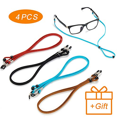4Pcs Premium Leather Eyeglasses Straps-Chains-Adjustable Eyewear Retainer- Glasses Holder Lanyard Chains Cord for Men Women ()