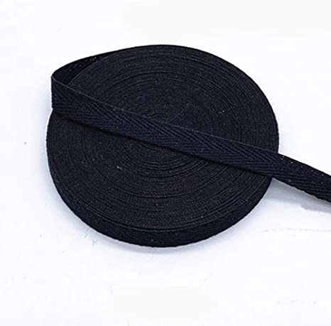 Egurs - Cinta de algodón multicolor de 45 m x 10 mm, banda de sarga suave tejida elástica, de algodón, cinta al bies para coser, Negro: Amazon.es: Deportes y aire libre