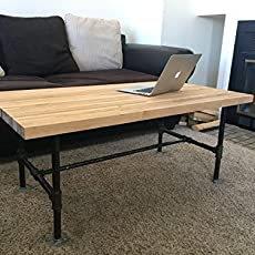 Coffee Table   Black Steel Pipe And Wooden Butcher Block