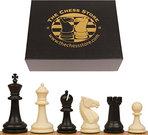Plastic Square Chess (The Chess Store Guardian Plastic Chess Set Black & Ivory Pieces with Box - 4