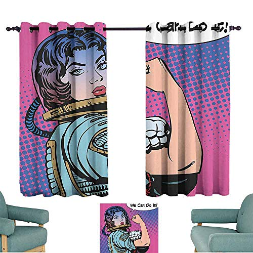 DILITECK Exquisite Curtain Comics Retro 50s 40s Comics Magazine Woman Figure with Woman Rights Idol Image Artwork Blackout Draperies for Bedroom Living Room W55 xL45 Multicolor (Best Magazines For Women In Their 40s)