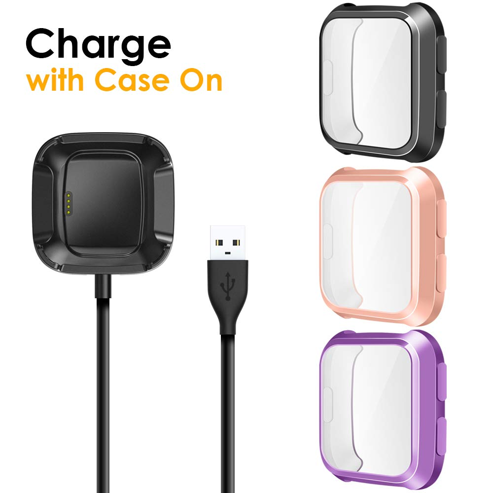 EZCO Compatible with Fitbit Versa Screen Protector Plus Charger [3+1 Pack], Exclusive Charging Dock Cable (Can Charge Case On) Soft TPU Full Coverage Case Cover Bumper Compatible Versa Smart Watch by EZCO