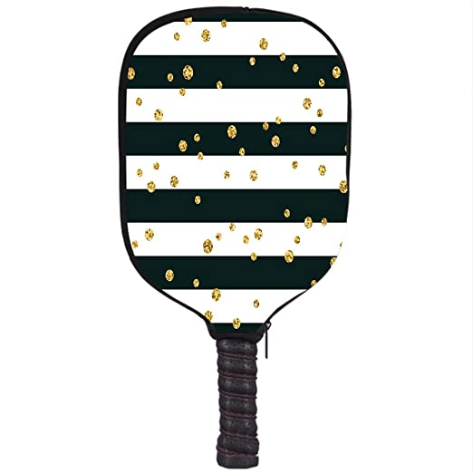 Amazon.com : Neoprene Pickleball Paddle Racket Cover Case, Gold and White, Horizontal Bold Lines and Stripes with Polka Dots Circles Image Decorative, ...