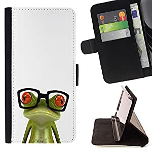 For sony Xperia M4 Aqua Funny Glasses Frog Style PU Leather Case Wallet Flip Stand Flap Closure Cover