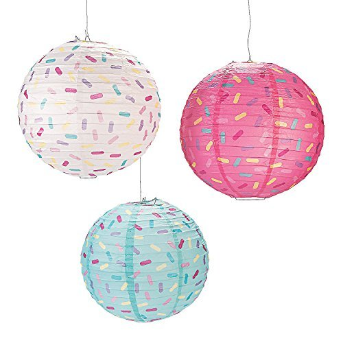 Fun Express Donut Party Paper Lanterns, Various Colors, (IN-13721066), (6 Piece Set)