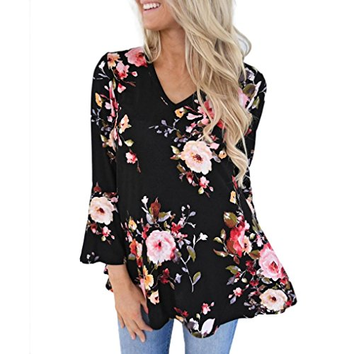 MALLOOM Women's Plus Size Floral Print Autumn Blouse Long Sleeve Casual T-Shirt Top (3XL, Black)