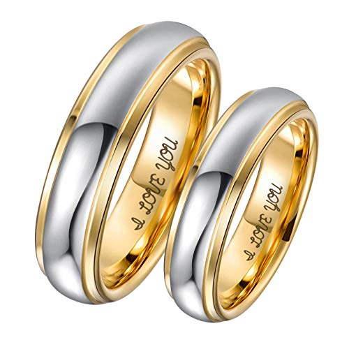 Aeici 4mm Tungsten Ring 18K Gold Plated Tungsten Promise Rings Silver Gold Wedding Band Ring Size 7