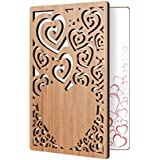 Bamboo Wood Greeting Card Swirl Heart Design: Handmade Wooden Card Perfect To Say I Love You, Happy Anniversary, Just Because, Or A Great Mothers Day Card