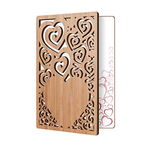 Bamboo Wood Greeting Card Swirl Heart Design: Handmade Wooden Card Perfect To Say I Love You, Happy Anniversary, Just Because, Or A Great Mother's Day Card