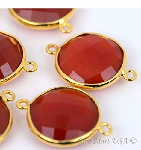 Red Onyx Bezel Connector 16mm Round 24k Gold Plated Double Bail By GemMartUSA Double Bezel Earrings