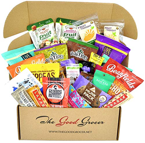 Deluxe Birthday Care Package - Deluxe VEGAN Snacks Care Package: Plant-based, Non-GMO, Vegan Jerky, Snack Bars, Protein Cookies, Vegan Puffs, Nuts, Healthy Gift Basket Alternative, Snack Variety Pack (Deluxe Vegan, 30)