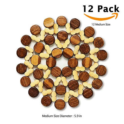 12 Sets Thicken Bamboo Drink Coasters Bulk Wood Trivets Mat Plaecemat Hot Pads Planter Plate Tray Tea Coffee Bar Mug Cup Kitchen Cooktop Dining Table Dishes Heat Insulation Absorbent Coasters