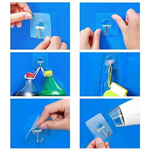 Homder 13.2lb/6kg(Max)Transparent Super Heavy Duty Solid Glue No Scratch kitchen and Bathroom Hook ,Waterproof and Oilproof,Super Load Reusable for Bathroom Kitchen Wall & Ceiling Hanger(8 pcs) hot sale 2017