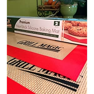 """Grill Magic Large 11.5"""" x 16"""" Silicone Baking Mats, Professional Grade Oven Safe Sheets for Cookies, Fish, Vegetables and Meat - (Set of 2)"""