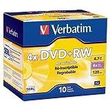 Verbatim DVD+RW, 4.7GB, 1X-4X Recording Speed, 10/PK (94839)