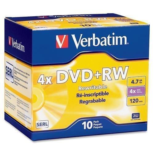 Verbatim DVD+RW, 4.7GB, 1X-4X Recording Speed, 10/PK (94839) by Verbatim