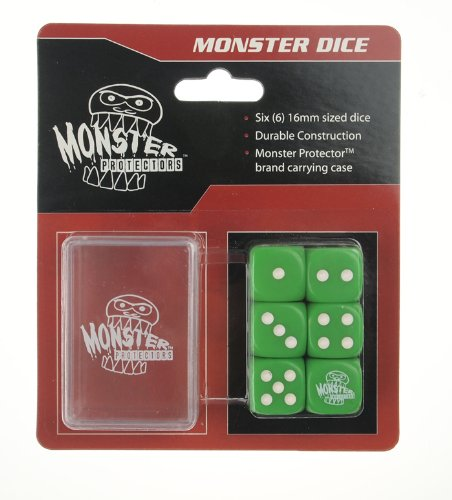 Dice - Monster Protectors Set of 6 D6 Logo Die with Pocket Carrying Case (Green) Die Case