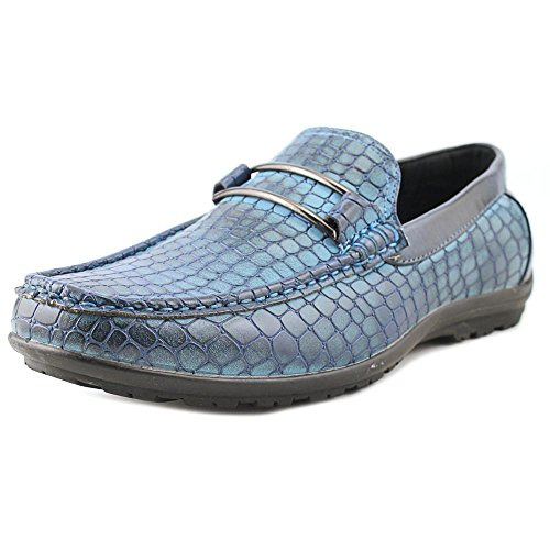 Stacy Adams Mens Lanzo Moc-teen Bit Instapper Loafer Blauwe Krokodil Print Pu