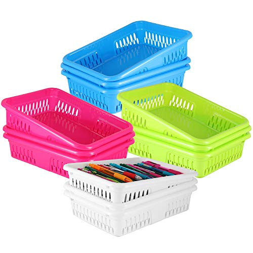 Bright Plastic Organizer Bins - 12 Pack -Colorful Storage Trays, Modular Baskets Holders for Classroom, Drawers, Shelves, Desktop, Closet, Playroom, Office - 4 Color - BPA Free (Colorful Plastic Storage Drawers)