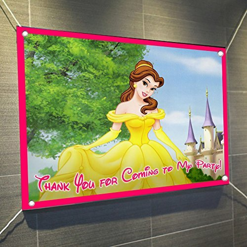Belle Banner Beauty and the Beast Large Vinyl Indoor or Outdoor Banner Sign Poster Backdrop, party favor decoration, 30'' x 24'', 2.5' x 2' Princess Aurora