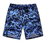 Ninasill Hot!Men's Printing Surfing Beach Shorts Elastic Waist with Pocket Sports Shorts Large Size Casual Vacation Pants Blue