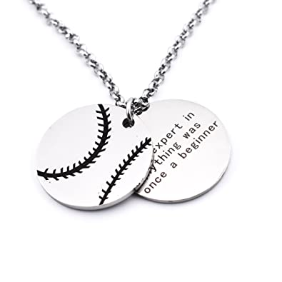 Amazon nret personalized baseball necklaces chain pendants nret personalized baseball necklaces chain pendants sport jewelry inspirational quote baseball gift teens aloadofball Images