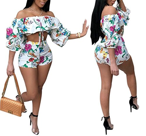 Women Sexy Off Shoulder Floral Ruffles Two Pieces Jumpsuits High Waist Short Party Rompers Size L(US 4-6) (White)