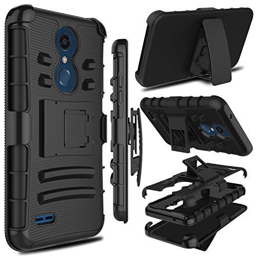 LG K10 2018 Case, LG K30 Case, LG Premier Pro LTE Case, Zenic Heavy Duty Shockproof Full-body Protective Hybrid Case with Swivel Belt Clip and Kickstand for LG K10 Alpha/K10α 2018/K10+ 2018 (Black) ()
