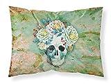 Tesoros de la Caroline bb5124pillowcase Día de los muertos diseño de calavera con flores Día de los muertos diseño de calavera con flores funda de almohada, multicolor, estándar
