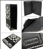 Coach Signature Black White Travel Passport Case Cover Id Badge Holder F61768