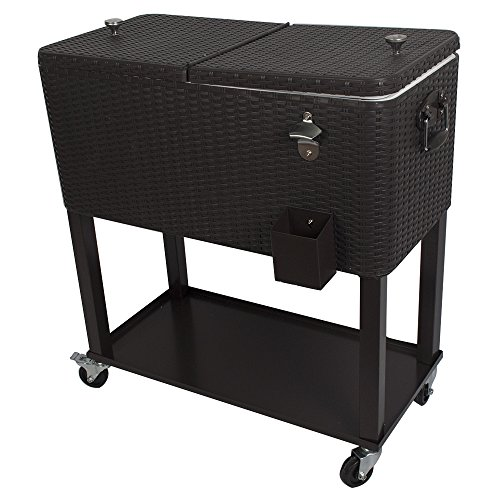 HIO 80 Qt Outdoor Patio Cooler Table On Wheels, with Shelf, Dark Brown Wicker by HIO