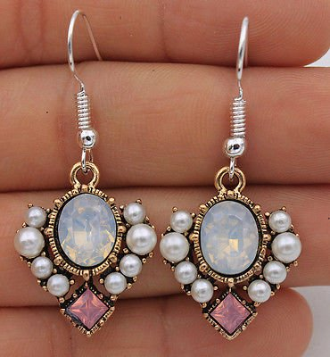 phitak shop 925 Silver Plated Hook - 1.7'' Square Opal Crystal Pearl Beads Prom Earrings #17